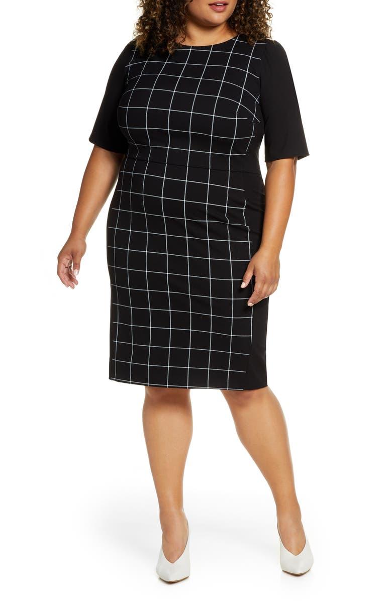 ELOQUII 9-to-5 Windowpane Sheath Dress, Main, color, 001