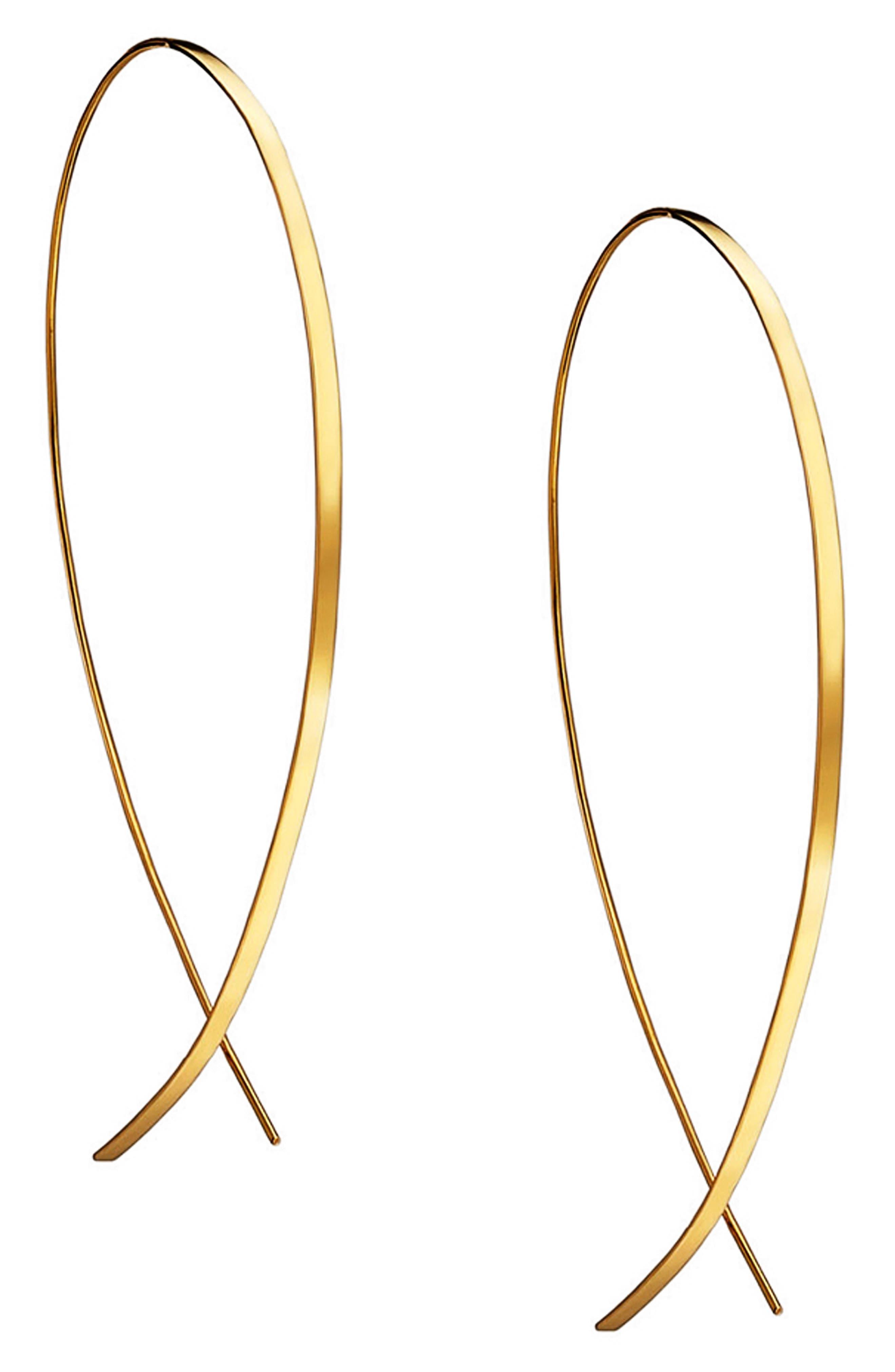 Large Flat Upside Down Hoop Earrings