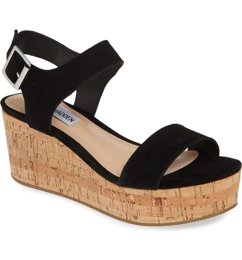 STEVE MADDEN Breathe Wedge Sandal, Main, color, BLACK SUEDE