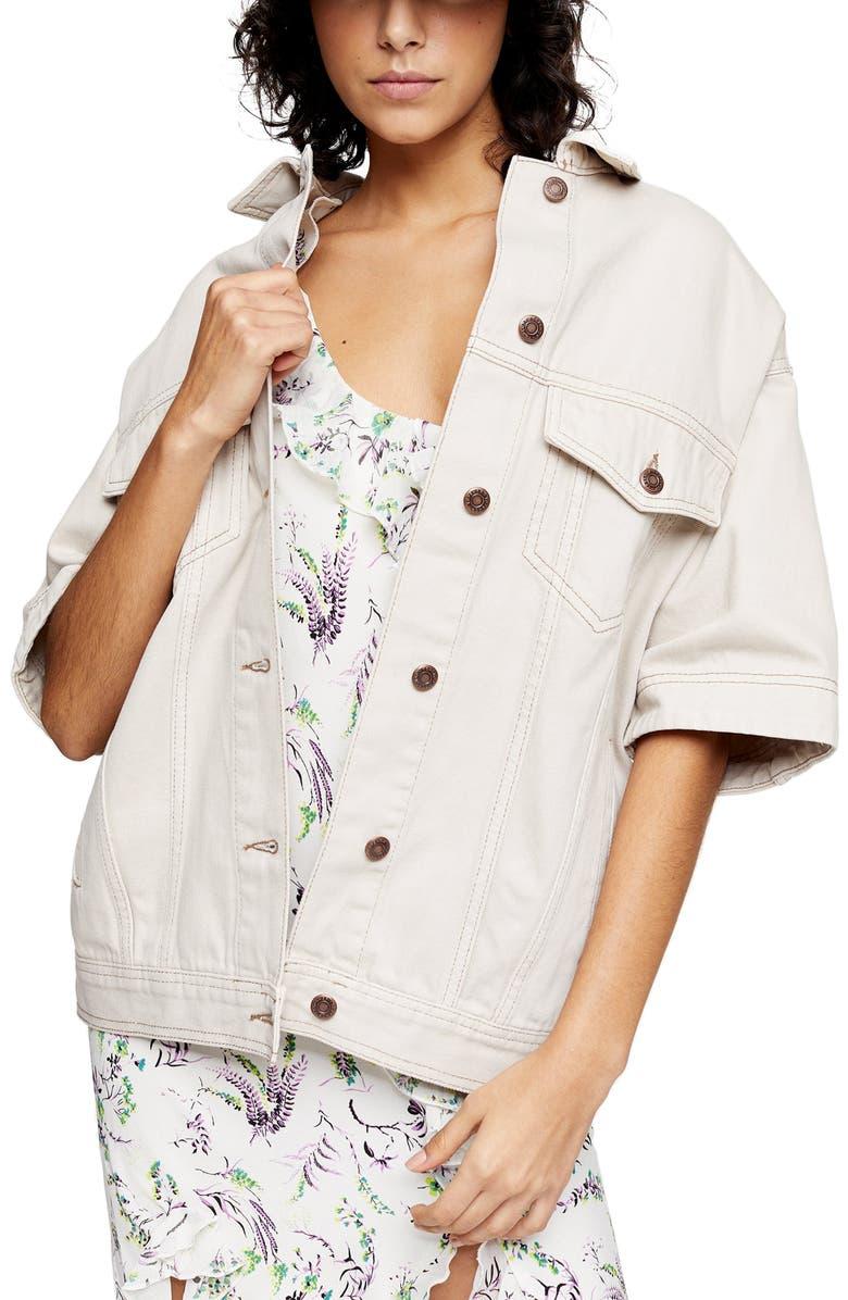 TOPSHOP Short Sleeve Oversize Denim Jacket, Main, color, GREY