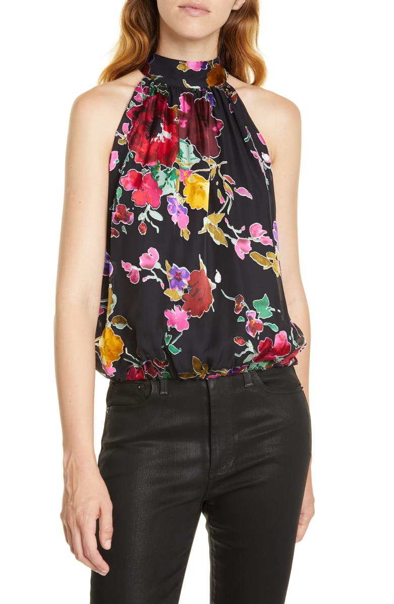 ALICE + OLIVIA Maris Halter Gathered Top, Main, color, PAINTERLY FLORAL BLACK