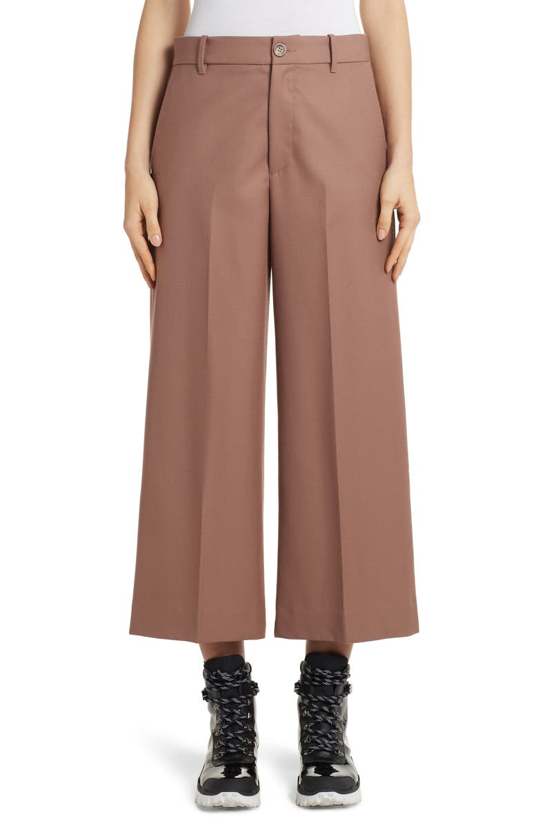 MONCLER Wide Leg Wool Crop Pants, Main, color, 210