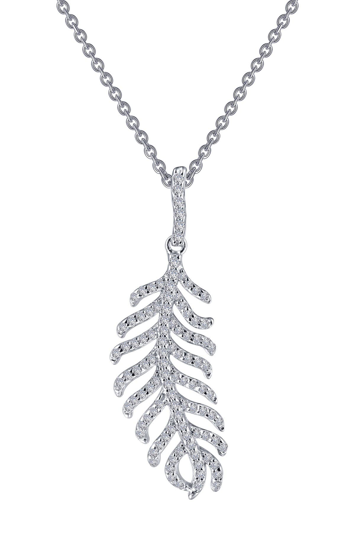 Image of LaFonn Platinum Sterling Silver Pave Feather Necklace