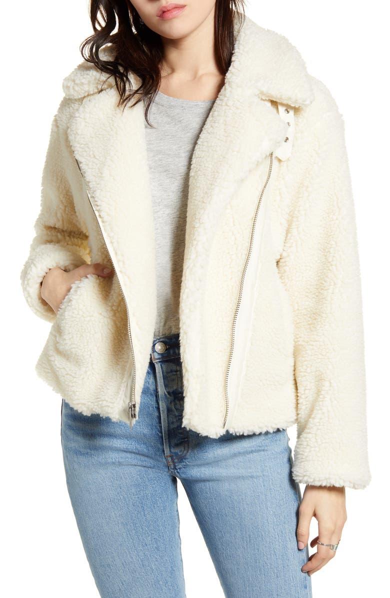 LEVI'S<SUP>®</SUP> Faux Shearling Moto Jacket, Main, color, 900