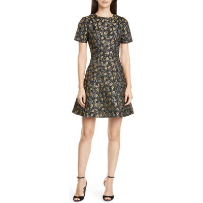 Ted Baker London Divwine Floral Jacquard Fit & Flare Dress, (fits like 4-6 US) - Black