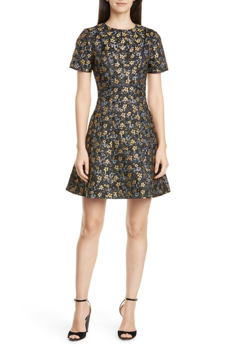 TED BAKER LONDON Divwine Floral Jacquard Fit & Flare Dress, Main, color, 001