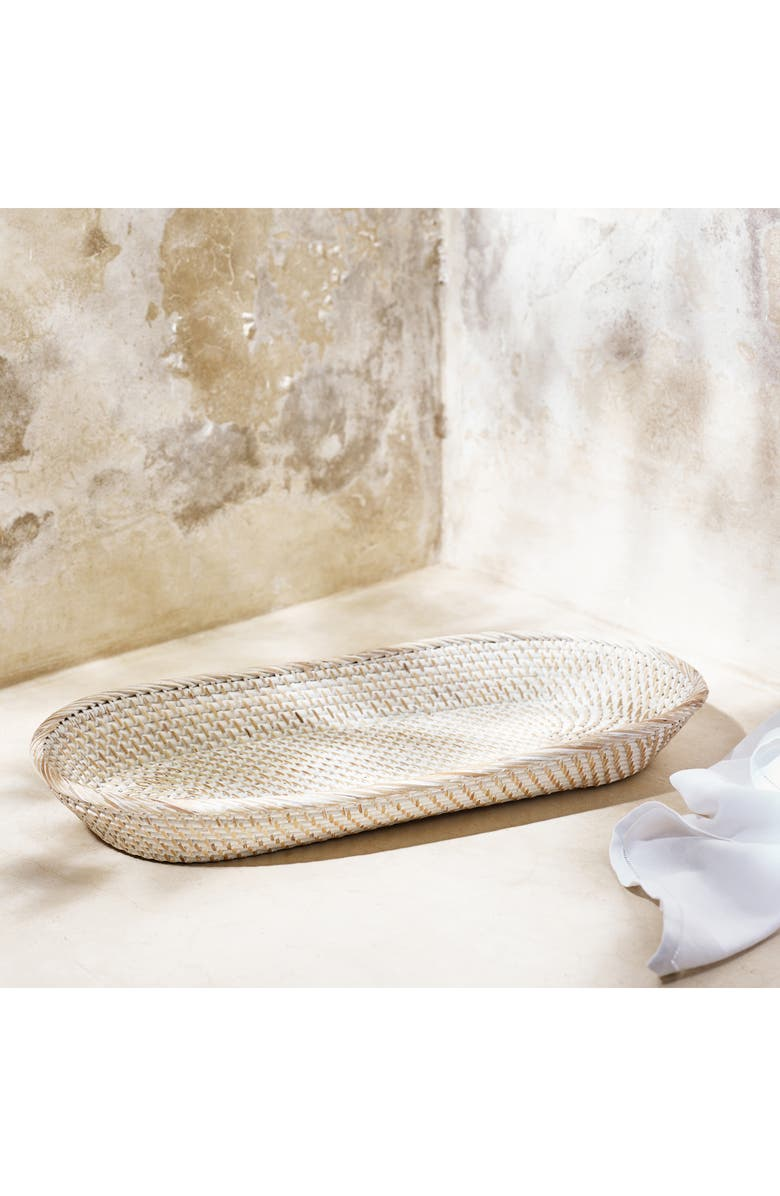 THE WHITE COMPANY Whitewashed Rattan Bread Basket, Main, color, 100