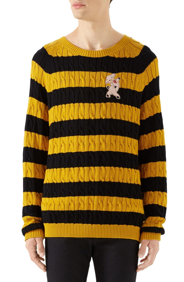 GUCCI Pig Stripe Cable Knit Sweater, Main, color, BLACK YELLOW