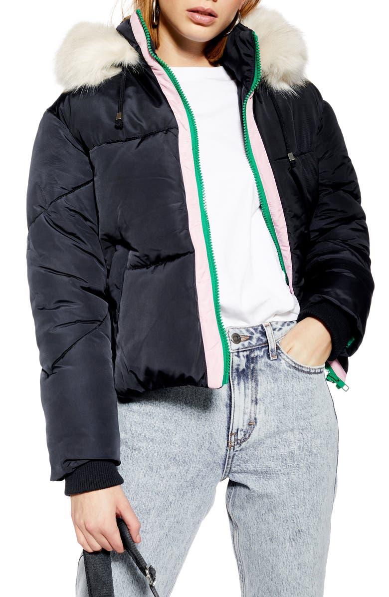 TOPSHOP Lauren Faux Fur Hooded Puffer Jacket, Main, color, NAVY BLUE