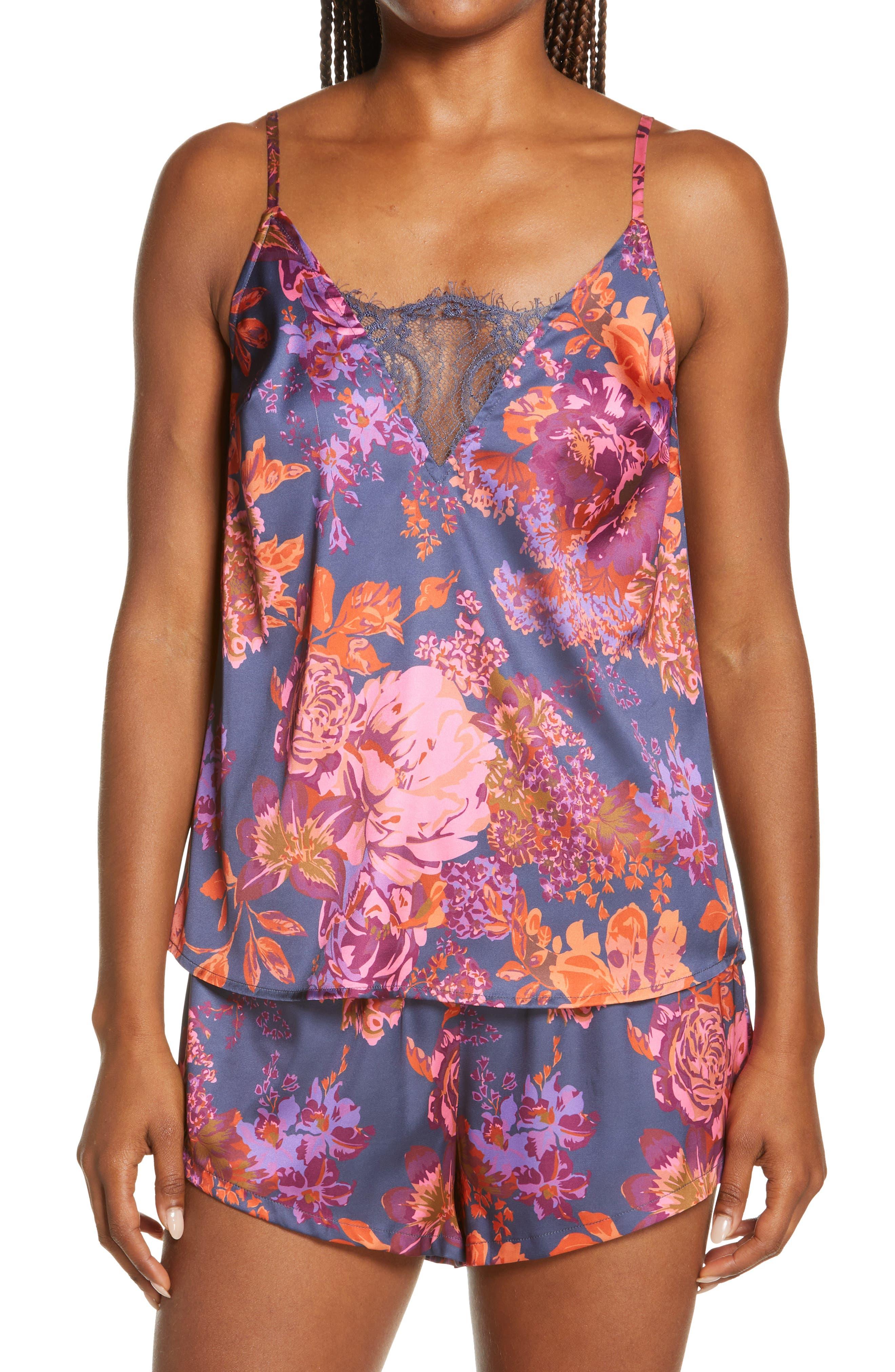 Floral Lace Inset Short Pajamas