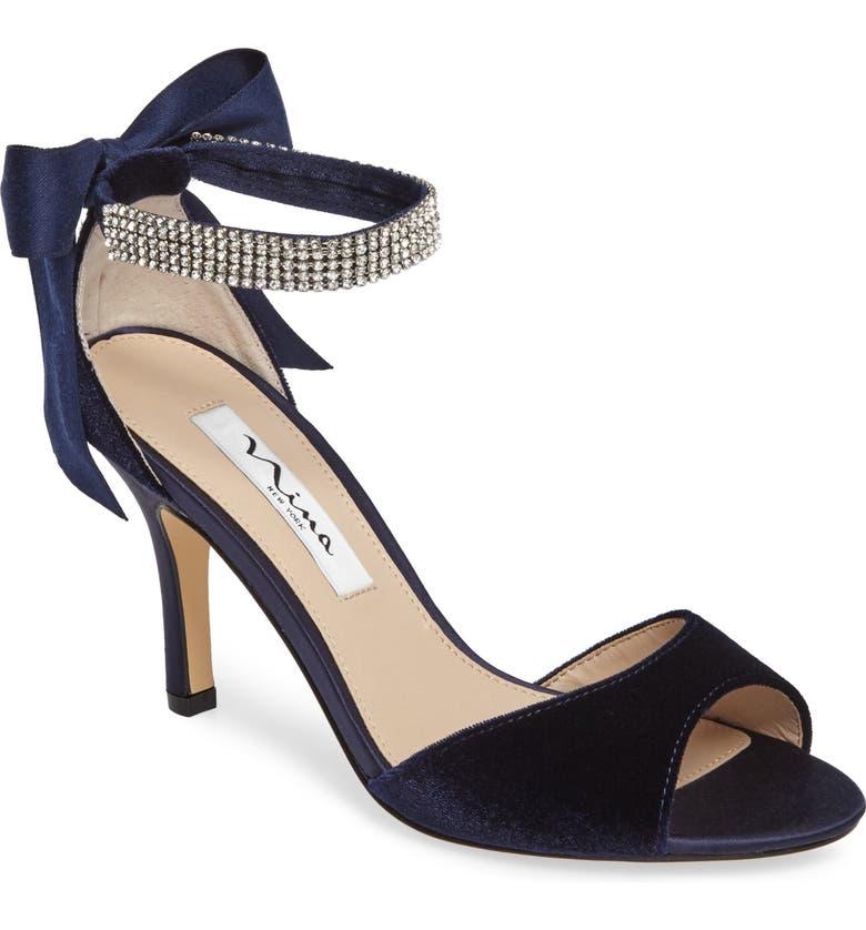 NINA 'Vinnie' Crystal Embellished Ankle Strap Sandal, Main, color, 402