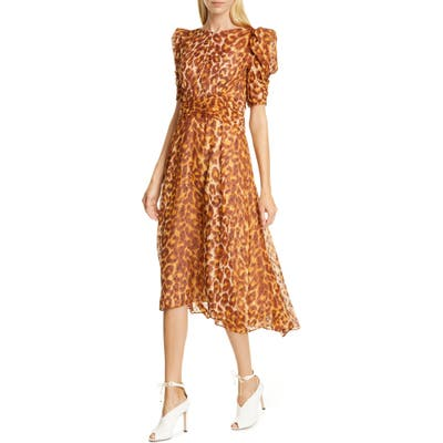 Kate Spade New York Panthera Clip Dot Silk Dress, Brown