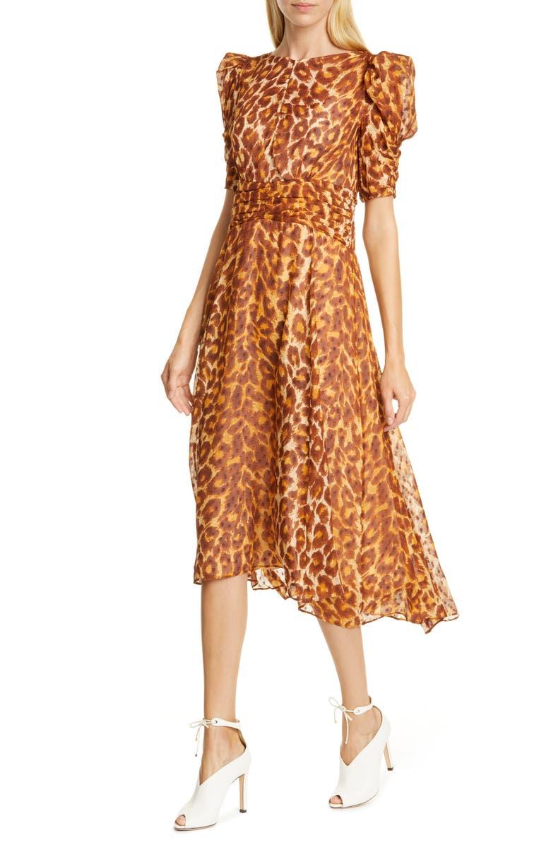 KATE SPADE NEW YORK panthera clip dot silk dress, Main, color, NEUTRAL