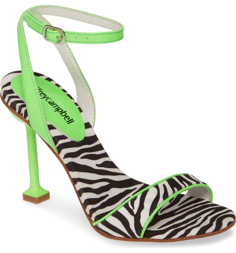JEFFREY CAMPBELL Angelic Ankle Strap Sandal, Main, color, BLACK WHITE ZBRA/ NEON GREEN
