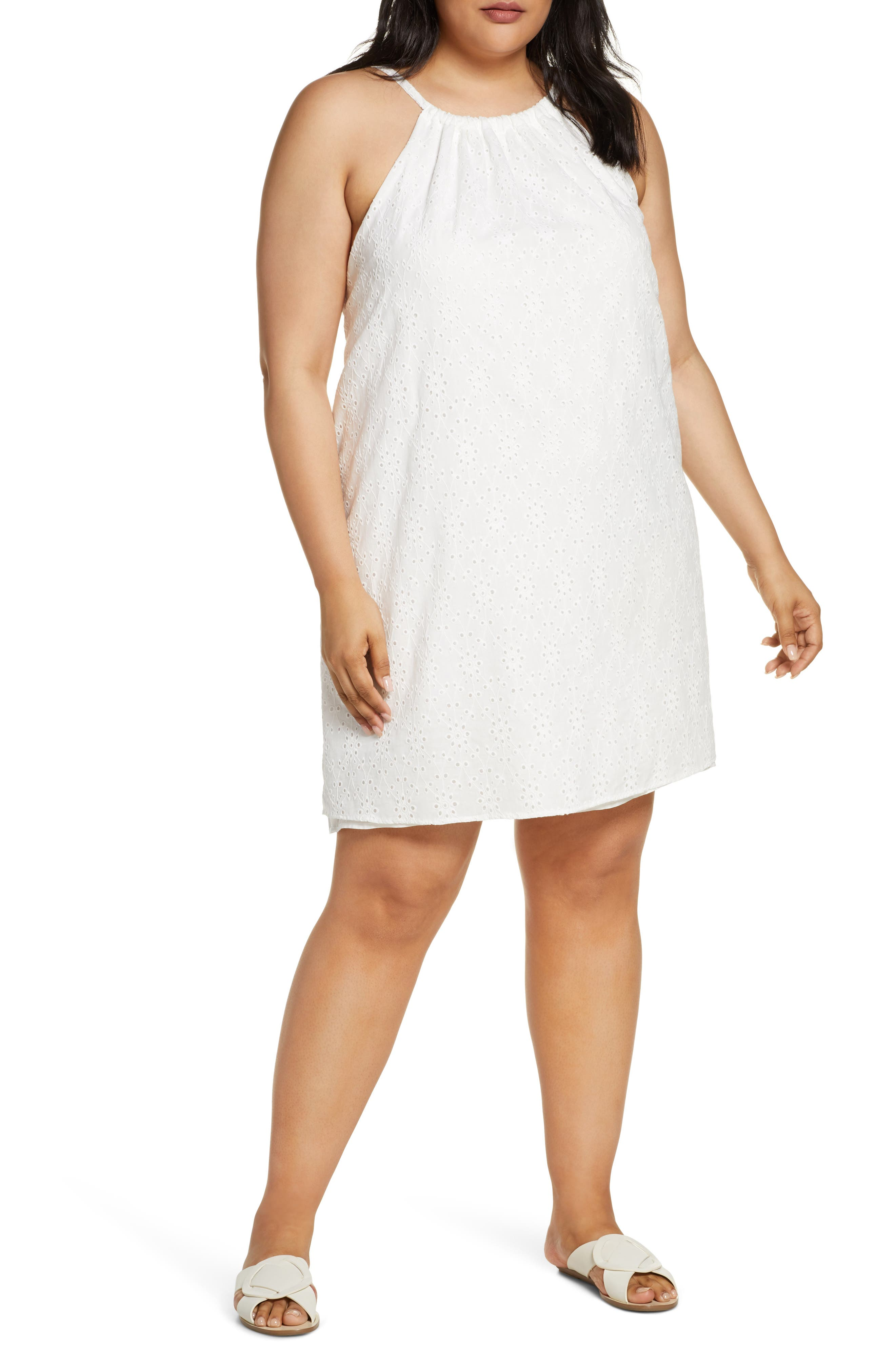 Plus Size Gibson X Hot Summer Nights Two Peas Eyelet Halter Summer Dress, White (Plus Size) (Nordstrom Exclusive)