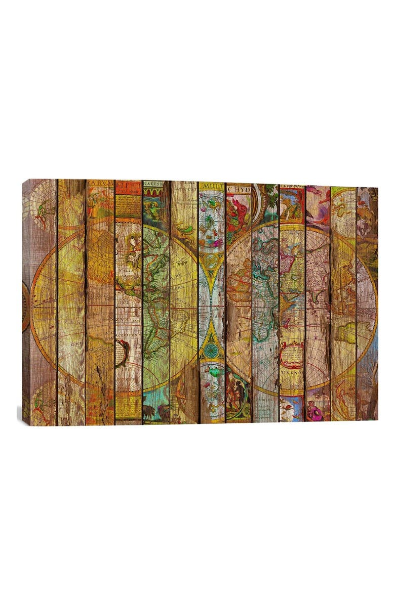 ICANVAS 'Around the World in 13 Maps - Maximilian San' Giclée Print Canvas Art, Main, color, BROWN/ MULTI