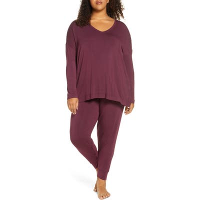 Plus Size Nordstrom Moonlight Pajamas, Burgundy