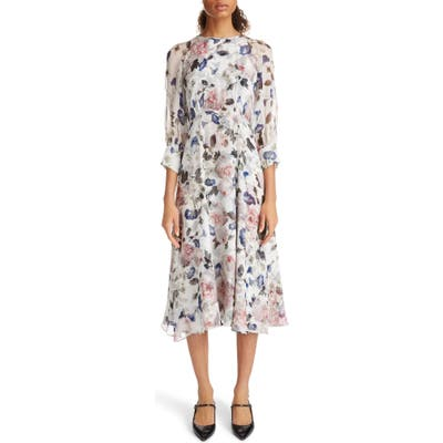 Erdem Floral Print Silk Voile Midi Dress, US / 12 UK - Pink