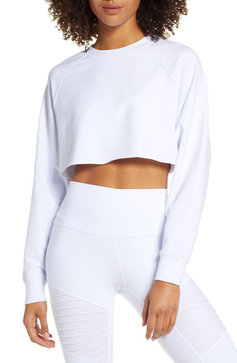 ALO Double Take Crop Sweatshirt, Main, color, WHITE