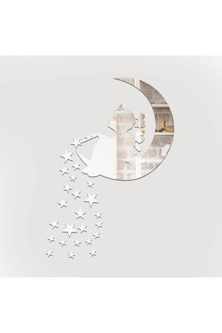 Image of WalPlus Magic Twinkle Fairy Moon & Stars Mirror Wall Art Decal