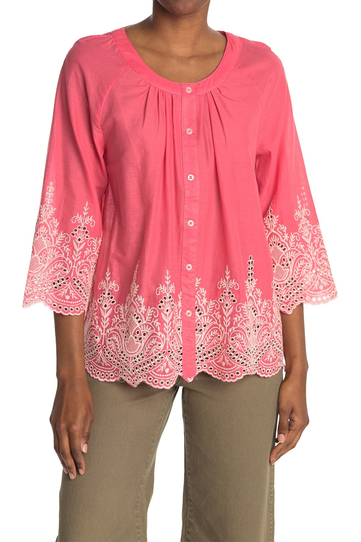 Image of Forgotten Grace Button Front 3/4 Sleeve Embroidered Blouse