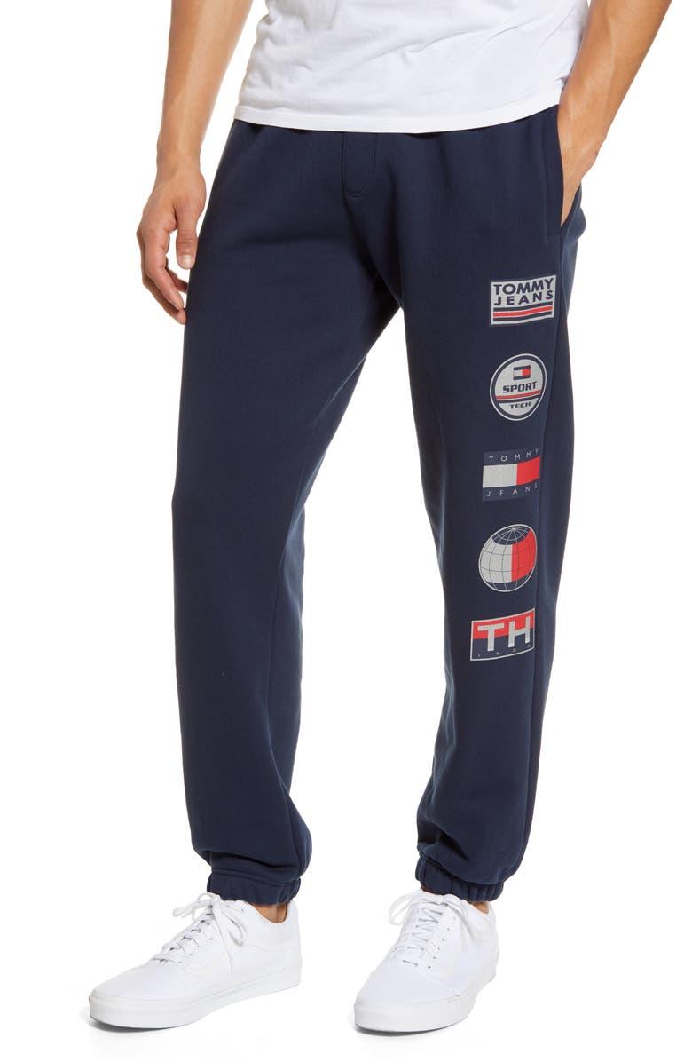 TOMMY JEANS TJM Sport Tech Logo Sweatpants, Main, color, NAVY BLAZER