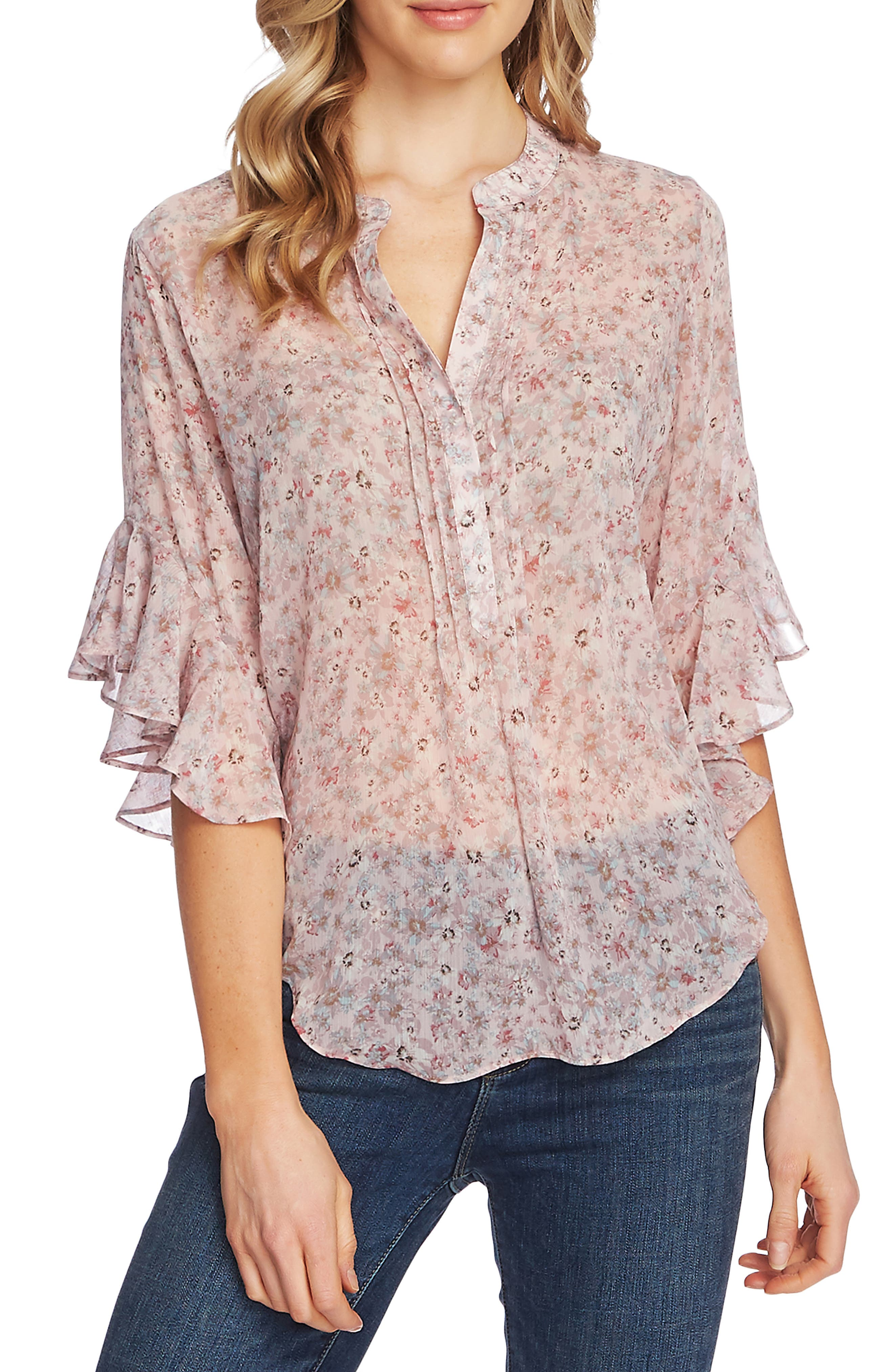 Vince Camuto Womens Floral Print Flutter-Sleeves Blouse Top BHFO 9065