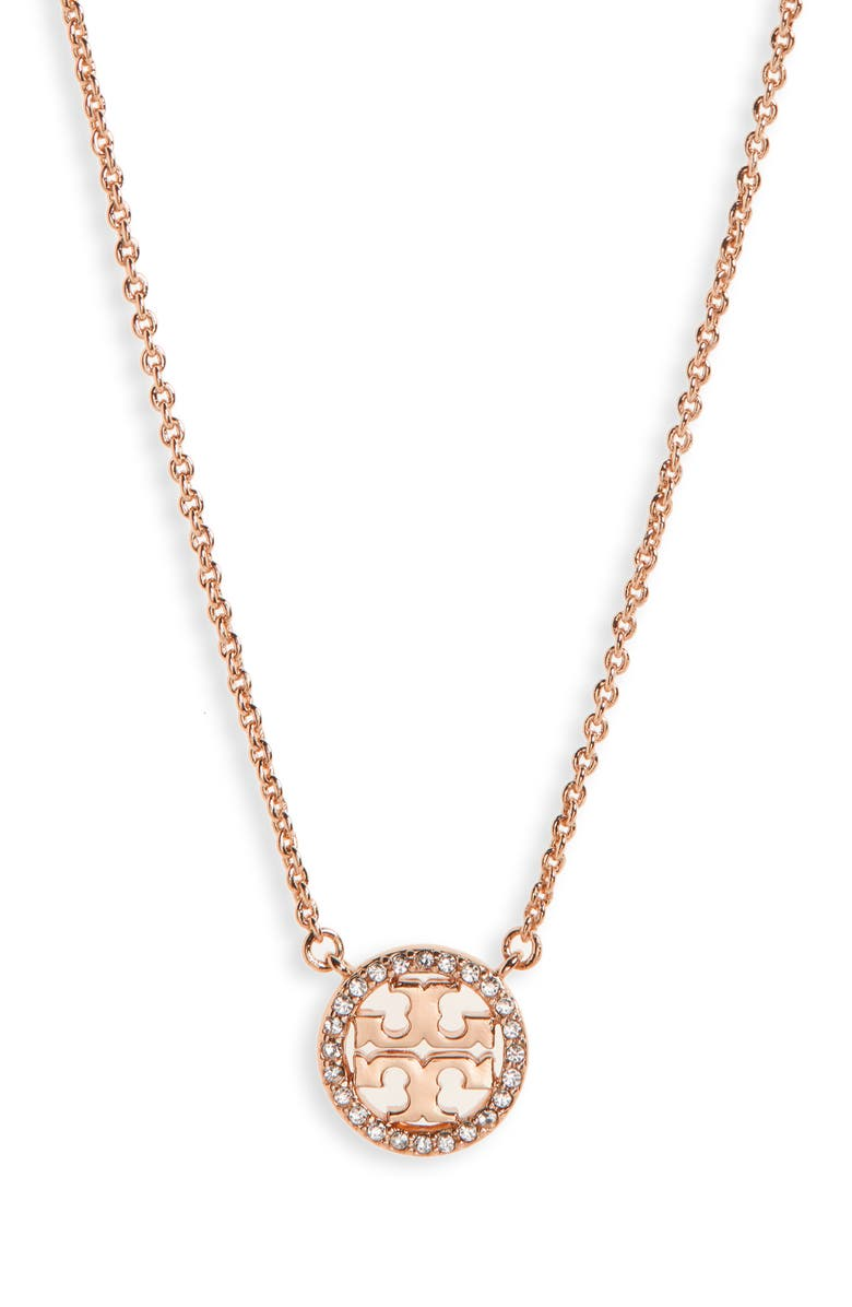 TORY BURCH Pavé Logo Pendant Necklace, Main, color, ROSE GOLD/ CRYSTAL