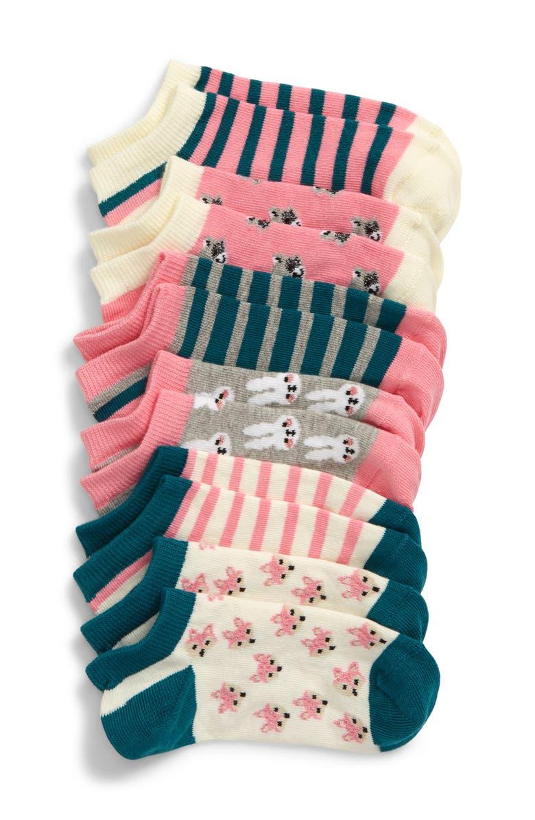 TUCKER + TATE Bunny & Friends 6-Pack Low-Cut Socks, Main, color, PINK SHOCK MULTI