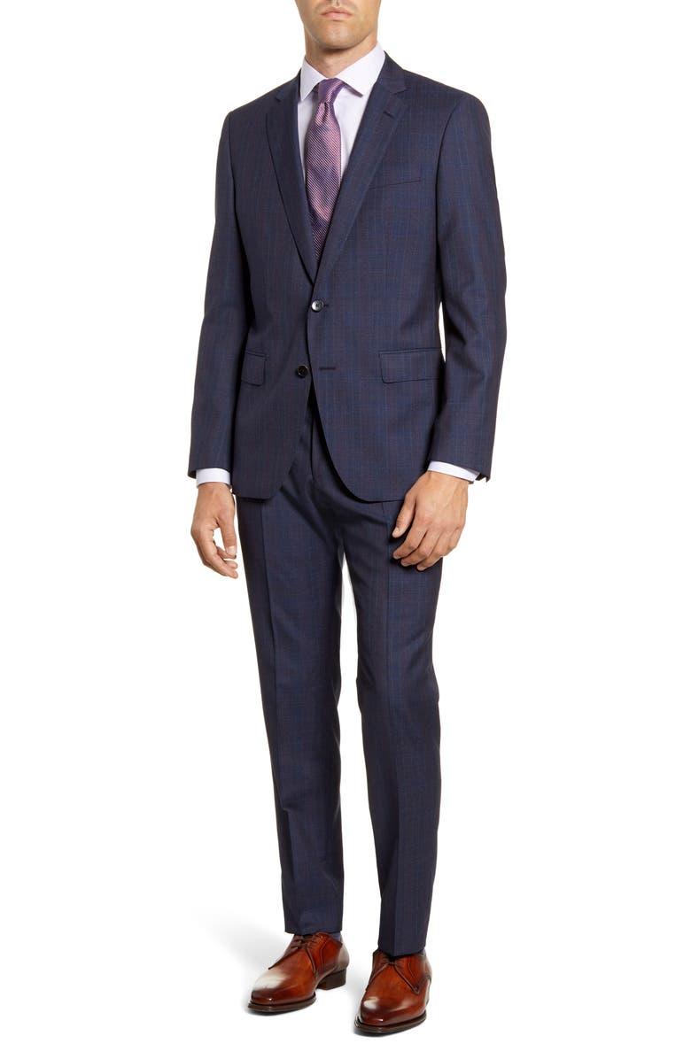 BOSS Huge/Genius Trim Fit Plaid Wool Suit, Main, color, BLUE
