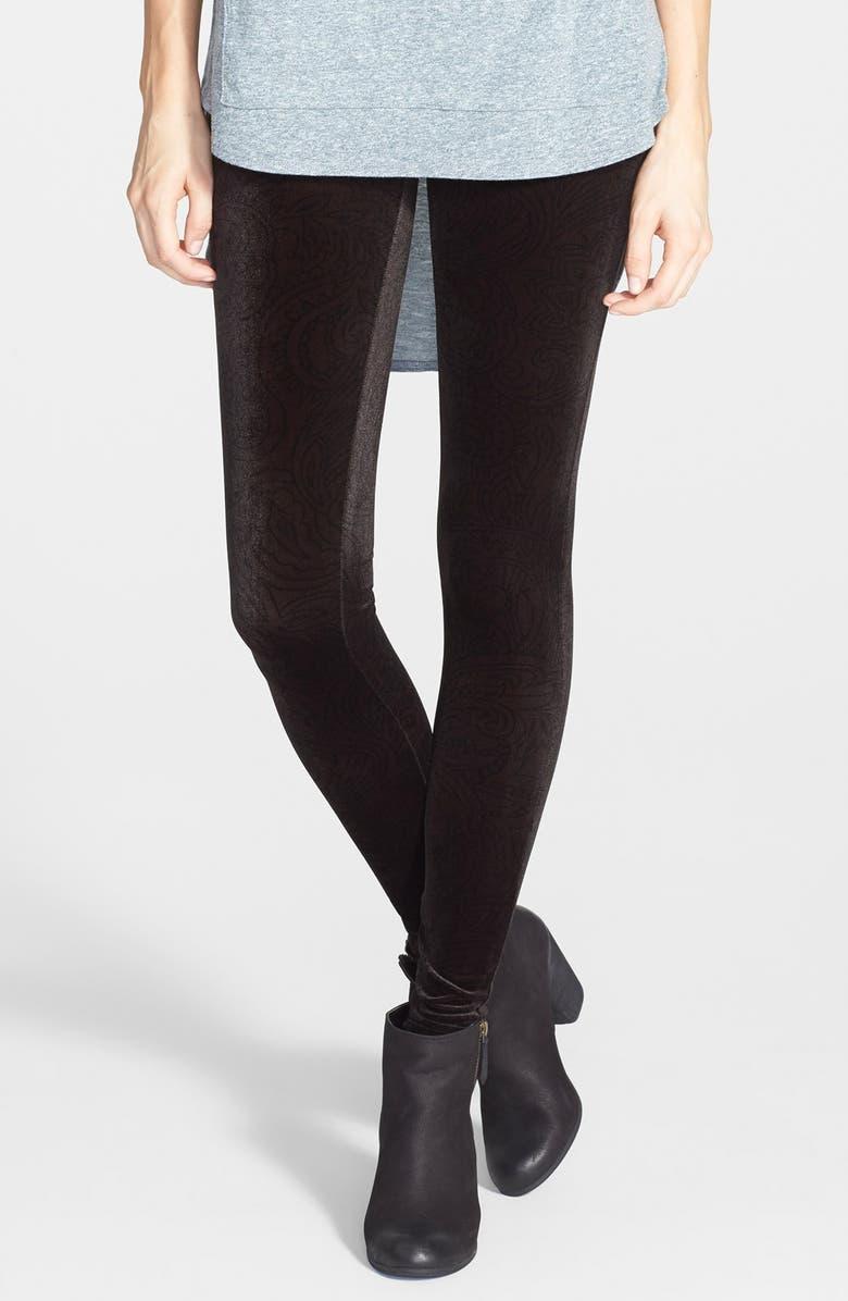 SUN & SHADOW Frenchi<sup>®</sup> Print Velour Leggings, Main, color, 001