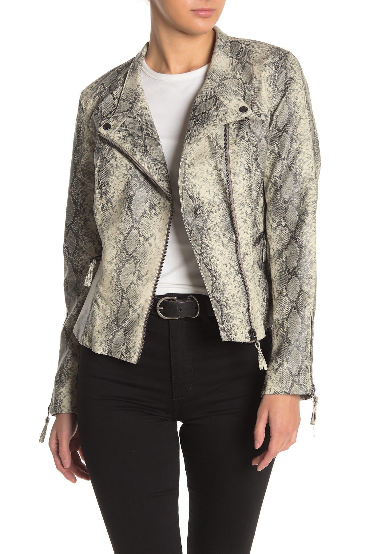Snakeskin micro suede jacket