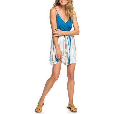Roxy Floral Offering Wrap Front Minidress, Blue