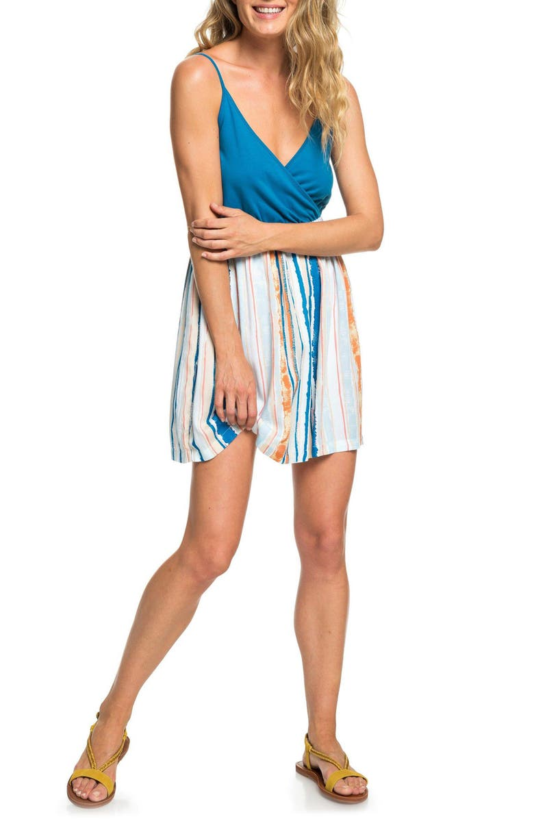 ROXY Floral Offering Wrap Front Minidress, Main, color, MARSHMALLOW MIDNIGHT PARADISE