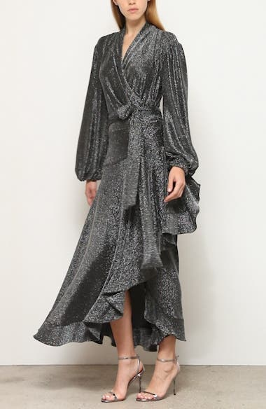 Metallic Mesh Long Sleeve Wrap Gown, video thumbnail