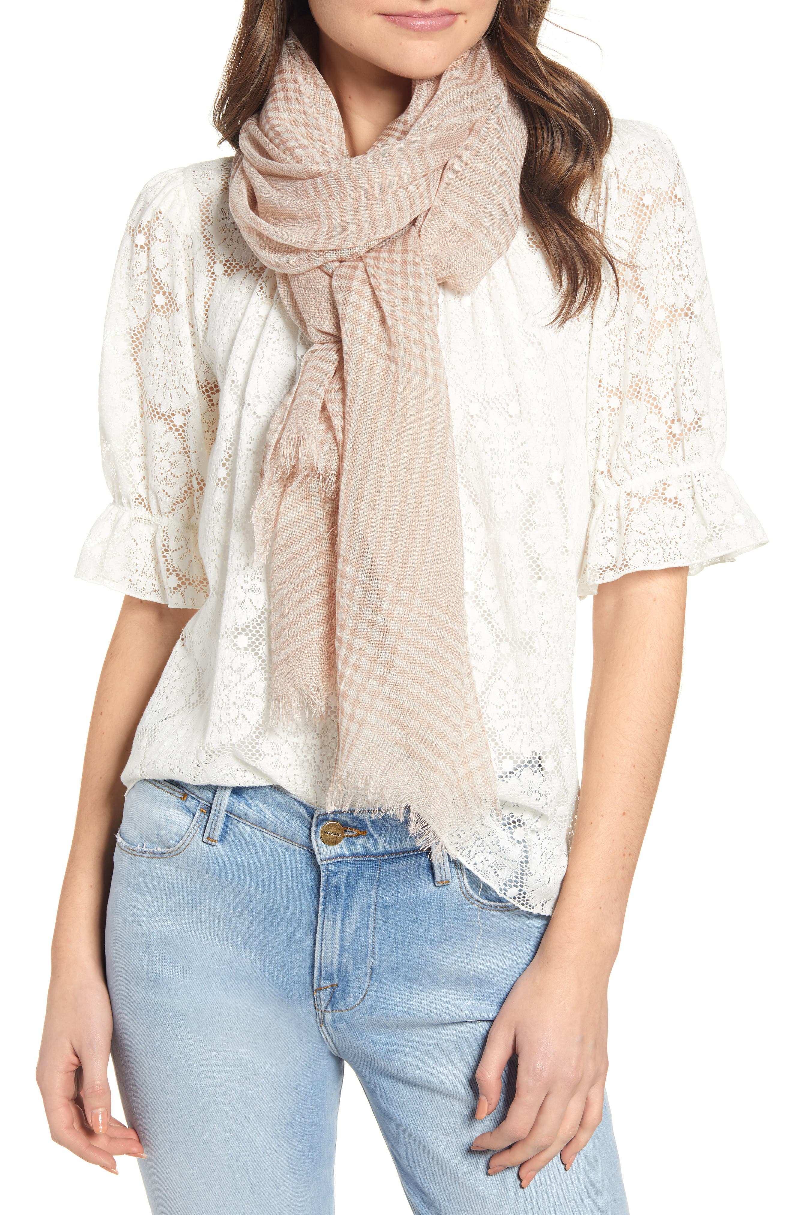 ,                             Jessa Gingham Scarf,                             Main thumbnail 1, color,                             TAUPE