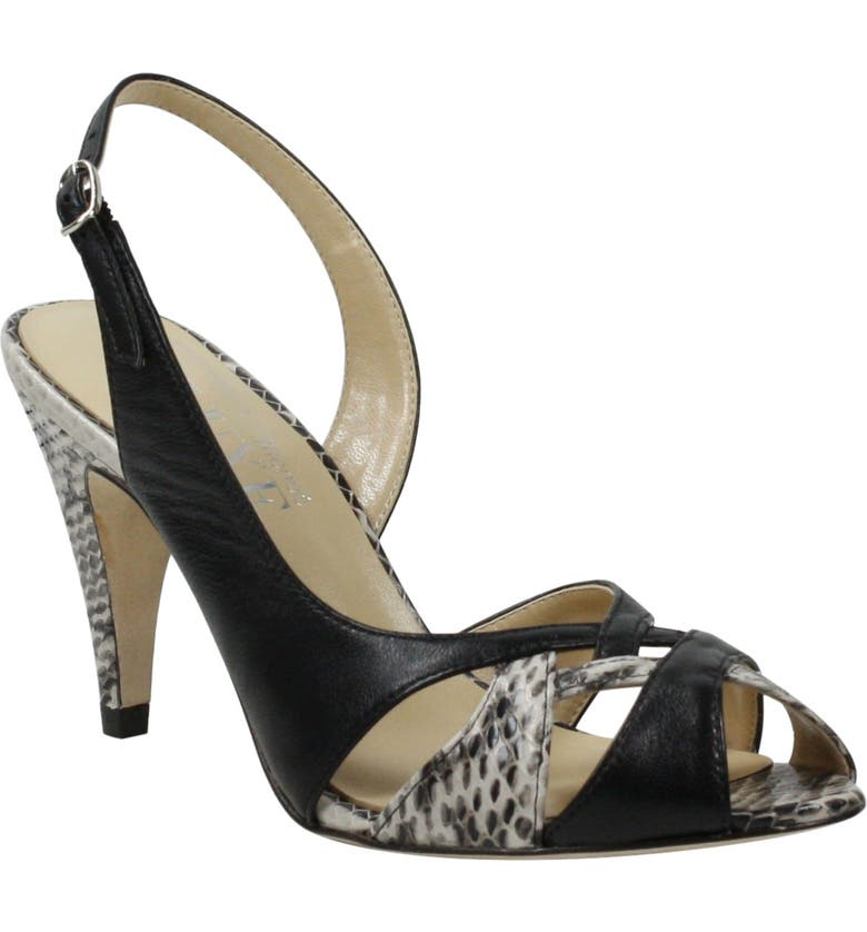 J. RENEÉ Adelyn Slingback Sandal, Main, color, BLACK LEATHER MULTI