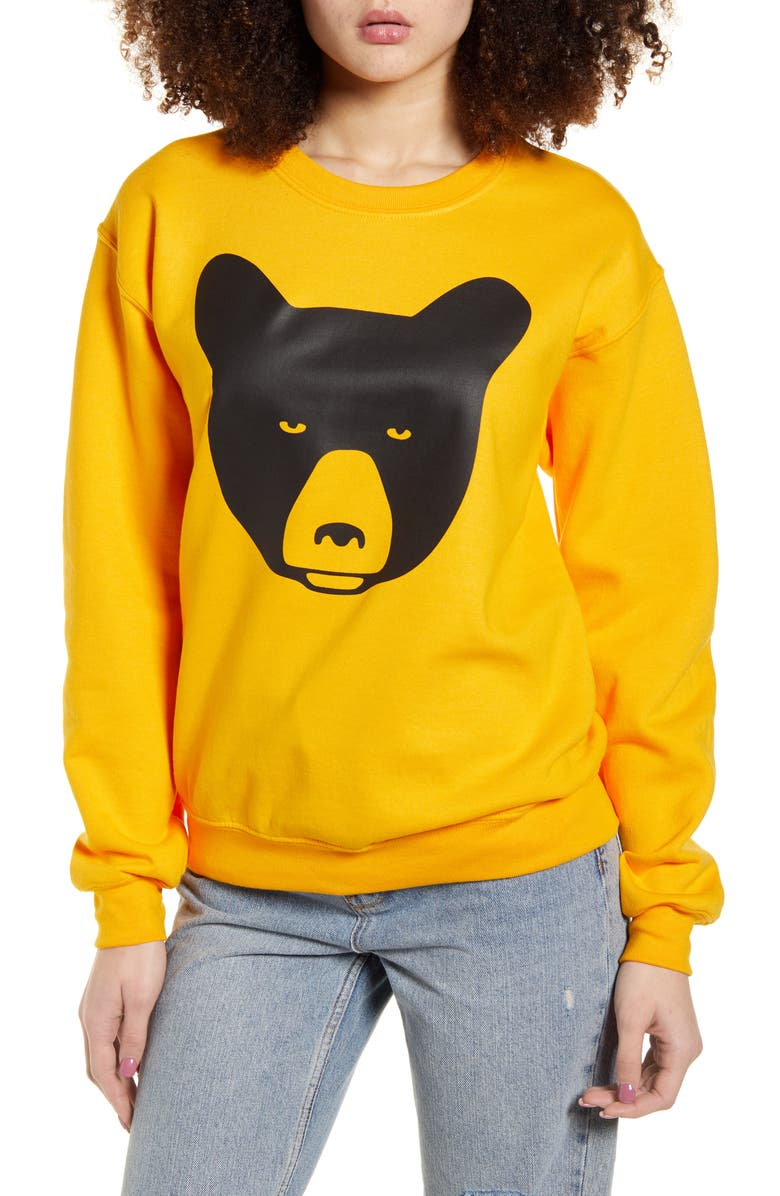LORIEN STERN Bear Graphic Cotton Blend Sweatshirt, Main, color, YELLOW