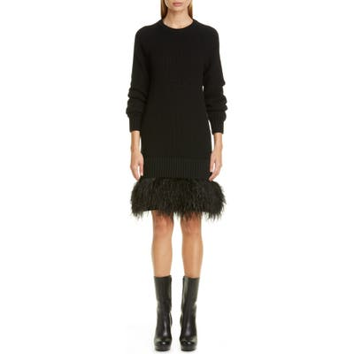 Michael Kors Cashmere Sweater Dress With Feather Hem, Black