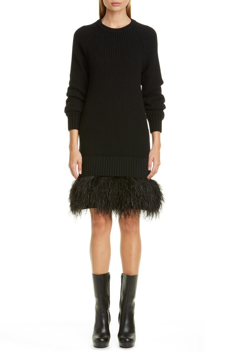 MICHAEL KORS COLLECTION Cashmere Sweater Dress with Feather Hem, Main, color, BLACK