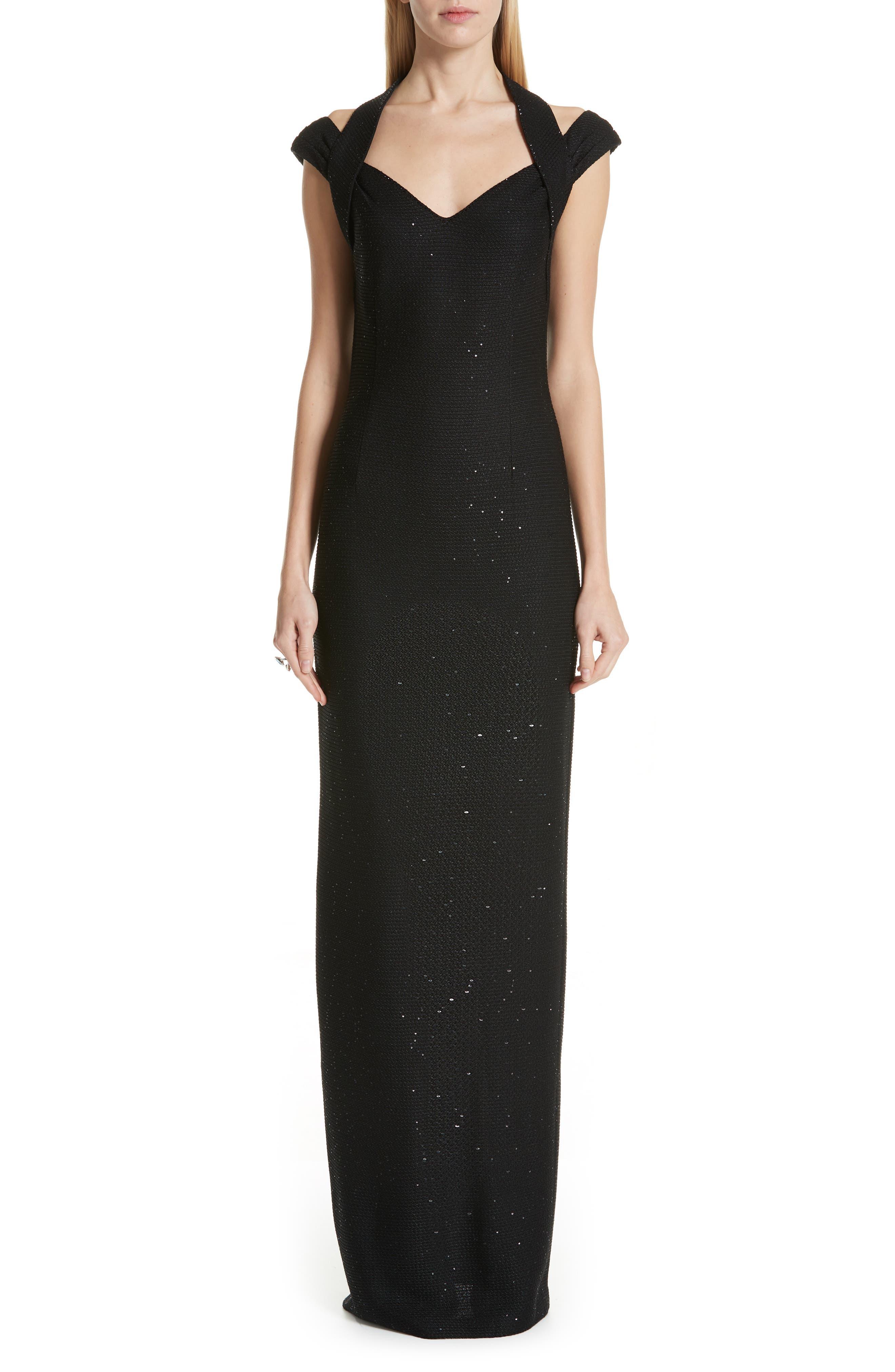 St. John Collection Links Sequin Knit Halter Gown, Black