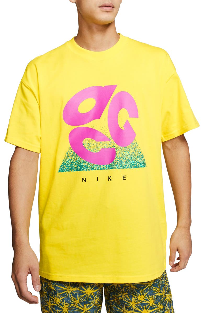 NIKE ACG Outdoor T-Shirt, Main, color, OPTI YELLOW/ ACTIVE FUCHSIA