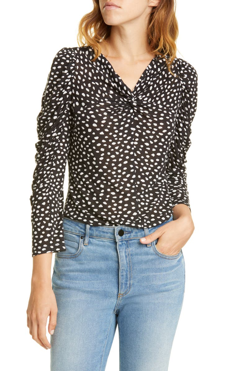 REBECCA TAYLOR Dot Ruched Sleeve Twist Top, Main, color, BLACK