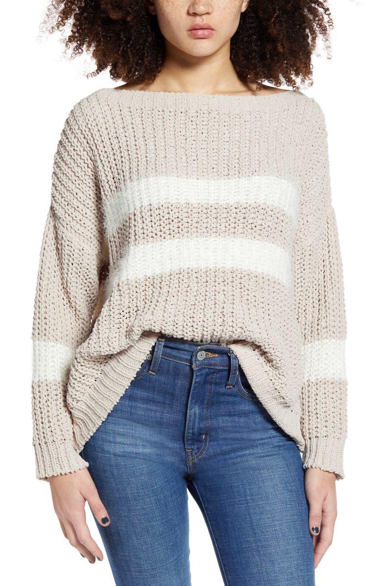 WOVEN HEART Eyelash Stripe Chenille Sweater, Main, color, BEIGE