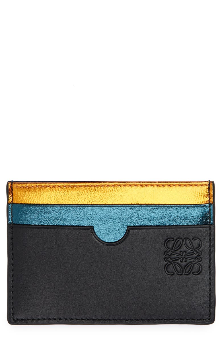 LOEWE Rainbow Plain Card Case, Main, color, METALLIC BLACK MULTI