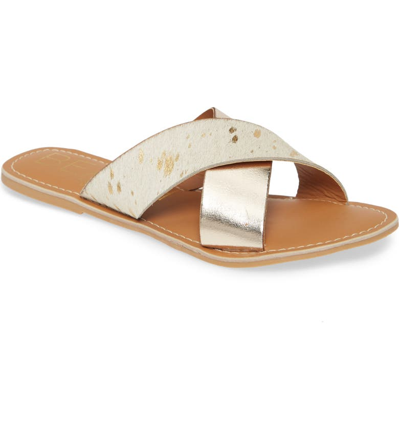 COCONUTS BY MATISSE Pebble Slide Sandal, Main, color, GOLD SPOT/ GOLD CALF HAIR