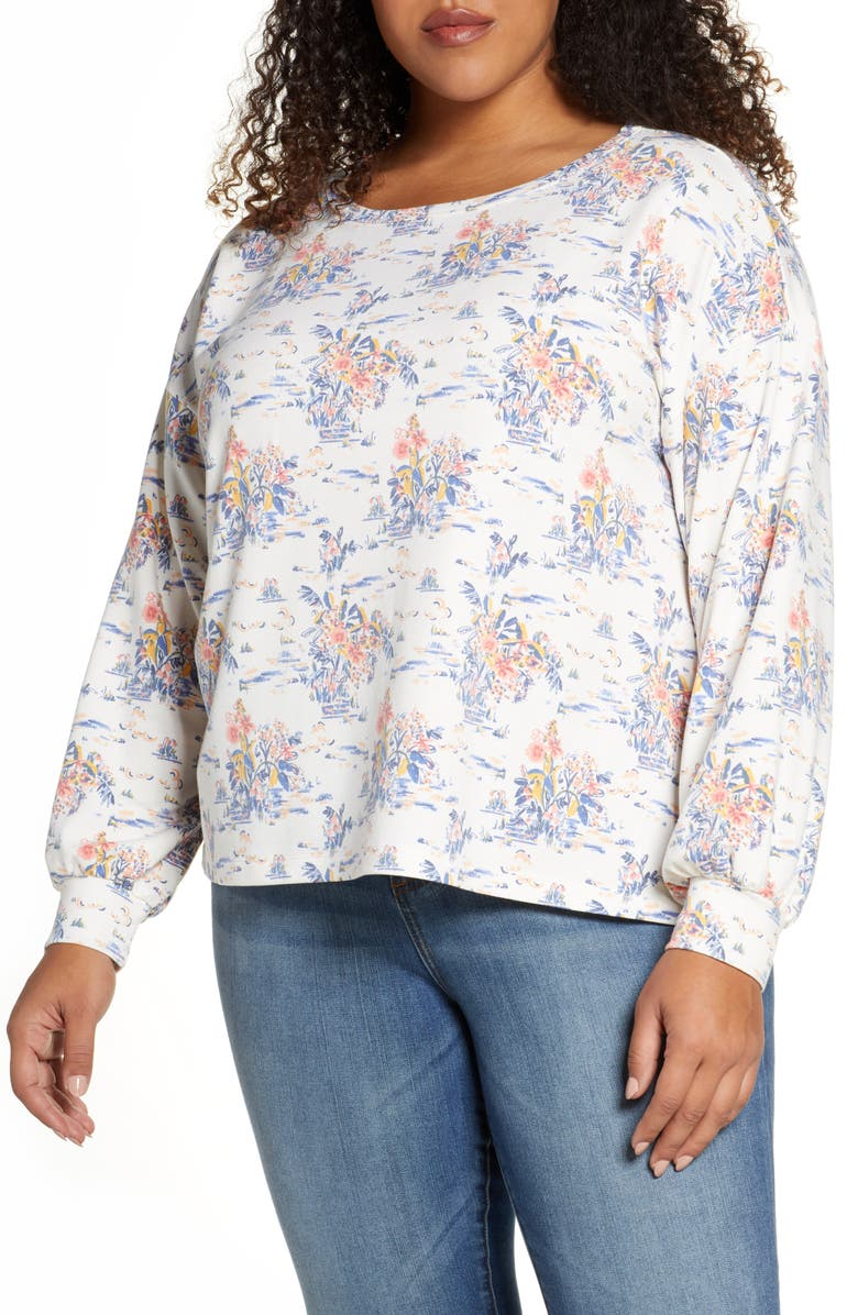 BOBEAU Bishop Sleeve Pullover, Main, color, WATER LILY