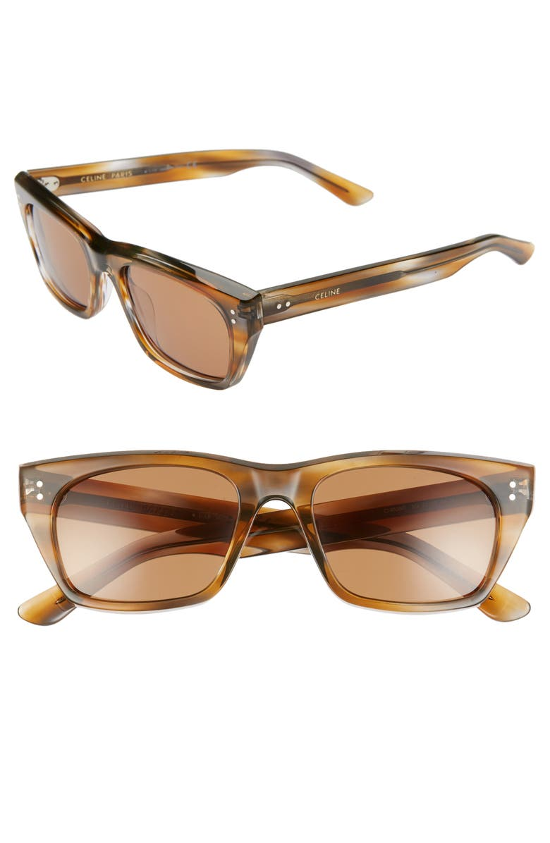 CELINE 53mm Rectangle Sunglasses, Main, color, COLOURED HAVANA