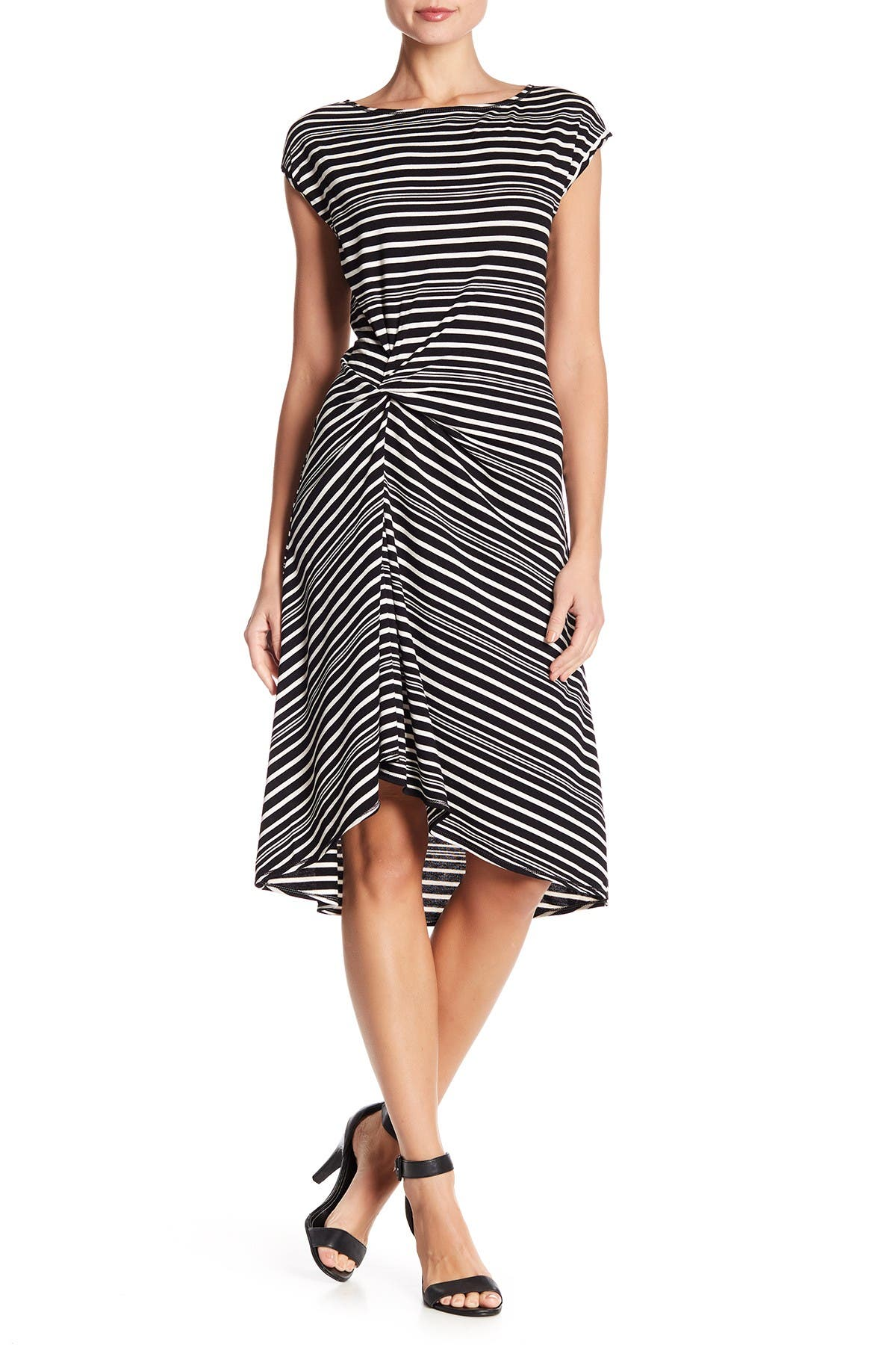 Image of Max Studio Striped Cap Sleeve Hi-Lo Dress