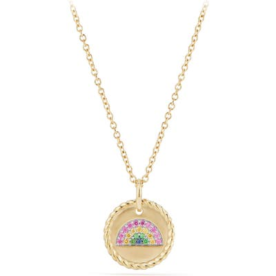 David Yurman Cable Collectibles Rainbow Necklace With Pink & Yellow Sapphires & Tsavorite In 18K Gold